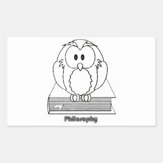 Filosofia Coruja com livro Philosophy Owl on book Rectangular Sticker
