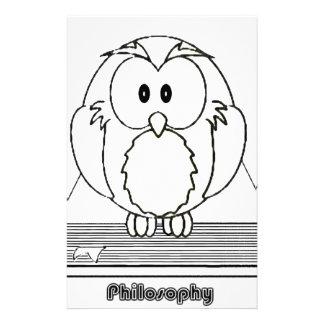 Filosofia Coruja com livro Philosophy Owl on book Stationery Paper