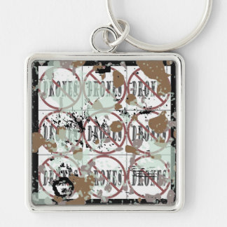 filthy Dirty no drones Dozen peace love you dope Silver-Colored Square Key Ring