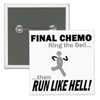 Final Chemo Run Like Hell - Brain Cancer / Tumor 15 Cm Square Badge
