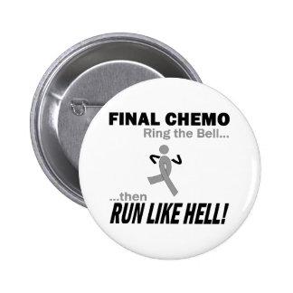 Final Chemo Run Like Hell - Brain Cancer / Tumor 6 Cm Round Badge