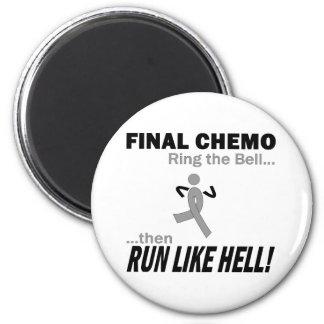 Final Chemo Run Like Hell - Brain Cancer / Tumor 6 Cm Round Magnet