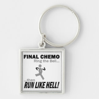 Final Chemo Run Like Hell - Brain Cancer / Tumor Silver-Colored Square Key Ring