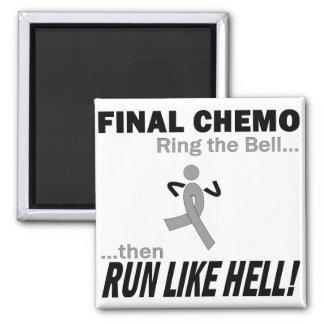 Final Chemo Run Like Hell - Brain Cancer / Tumor Square Magnet