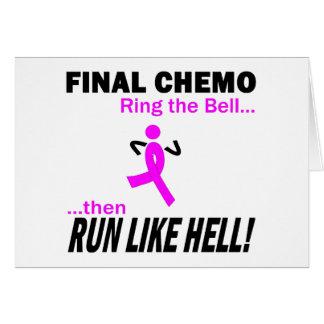 Final Chemo Run Like Hell - Breast Cancer Greeting Card