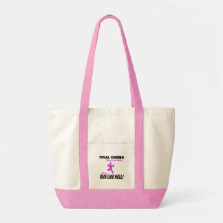 Final Chemo Run Like Hell - Breast Cancer Impulse Tote Bag