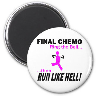 Final Chemo Run Like Hell - Breast Cancer Magnet