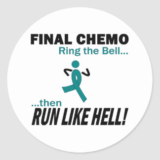 Final Chemo Run Like Hell - Cervical Cancer Classic Round Sticker