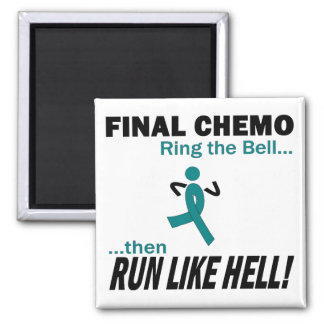 Final Chemo Run Like Hell - Cervical Cancer Square Magnet