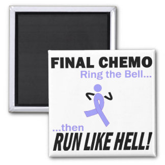Final Chemo Run Like Hell - Lavender Ribbon Square Magnet
