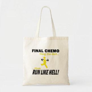 Final Chemo Run Like Hell - Testicular Cancer Budget Tote Bag