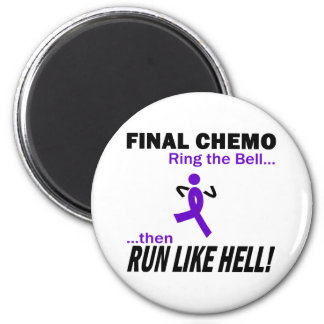 Final Chemo Run Like Hell - Violet Ribbon 6 Cm Round Magnet