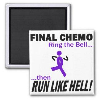 Final Chemo Run Like Hell - Violet Ribbon Refrigerator Magnets