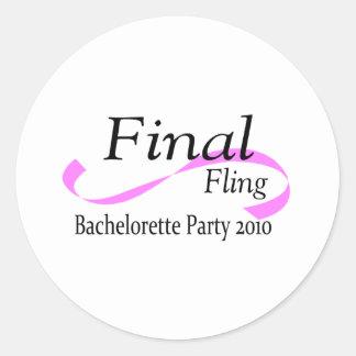 Final Fling Bachelorette Party 2010 Round Sticker