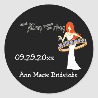 Final Fling Before The Ring Ginger Bride Classic Round Sticker