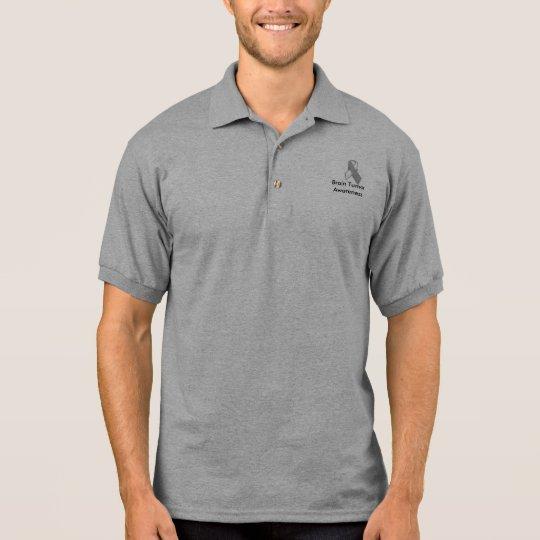 FinalGreywhiteawarenesspin, Brain Tumour Awareness Polo Shirt