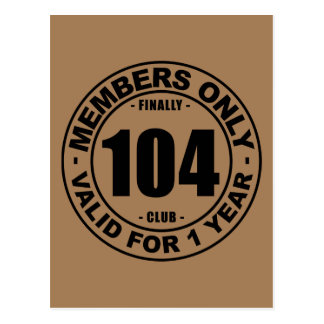 Finally 104 club postcard