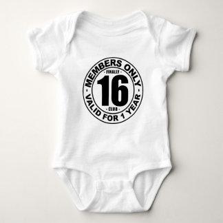 Finally 16 club baby bodysuit