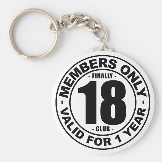 Finally 18 club basic round button key ring