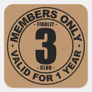 Finally 3 club square sticker