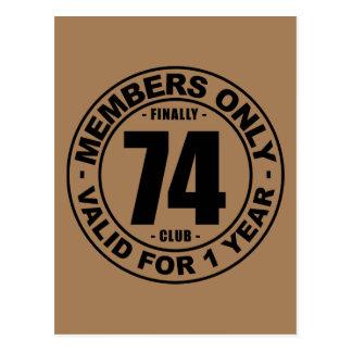 Finally 74 club postcard