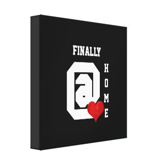 Finally at home Typography Black White Red Heart Canvas Print