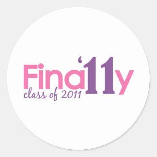 Finally Class of 2011 (Pink) Round Sticker