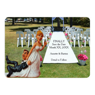 Finally Save the Date Funny Couple Flat Card