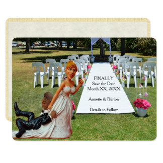 Finally Save the Date Funny Interracial Couple 2 Card