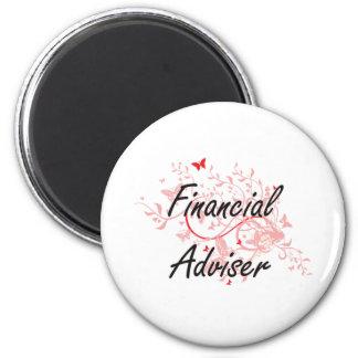 Financial Adviser Artistic Job Design with Butterf 6 Cm Round Magnet