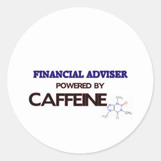 Financial Adviser Powered by caffeine Round Stickers