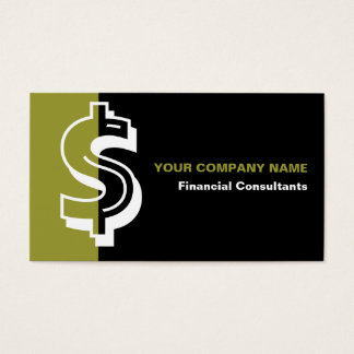 Financial consultant black olive business card