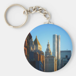 Financial District Skyline Cityscape Basic Round Button Key Ring