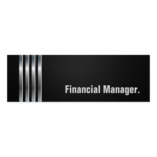 Financial Manager - Black Silver Stripes Pack Of Skinny Business Cards