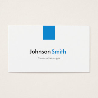 Financial Manager - Simple Aqua Blue Business Card