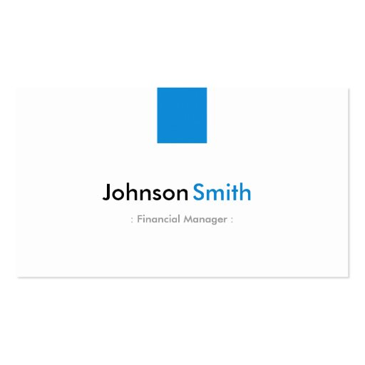 Financial Manager - Simple Aqua Blue Business Card Templates
