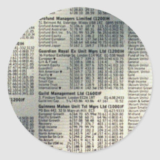Financial news page classic round sticker