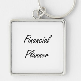 Financial Planner Artistic Job Design Silver-Colored Square Key Ring
