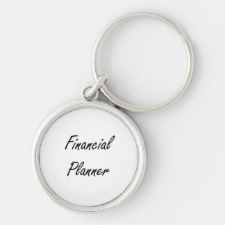 Financial Planner Artistic Job Design Silver-Colored Round Keychain
