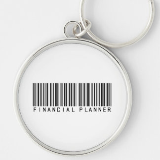 Financial Planner Bar Code Silver-Colored Round Key Ring