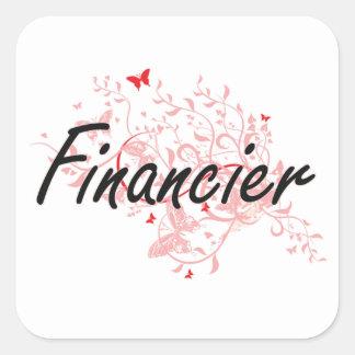 Financier Artistic Job Design with Butterflies Square Sticker