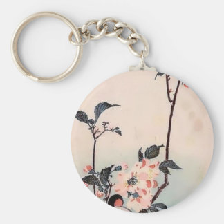 Finch Cherry Blossom Japanese Print Basic Round Button Key Ring