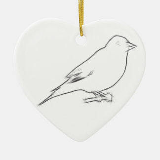 Finch Sketch Ceramic Heart Decoration
