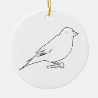 Finch Sketch Round Ceramic Decoration