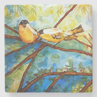 Finches Bird Watercolor Art Design Stone Coaster