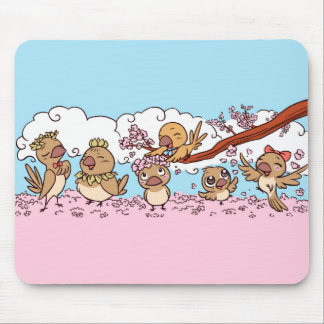 Finches birds with pink sakura flowers mouse mat