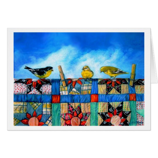 Finches 'n Fabric Card
