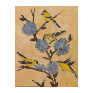Finches on Chicory Wood Print