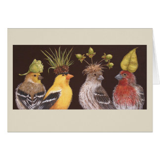 Finches on green hat night card