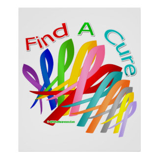Find A Cure Colorful Cancer Ribbons Posters